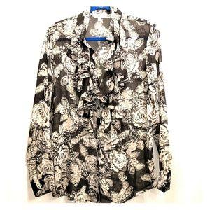 CAbi ruffle collar sheer blouse